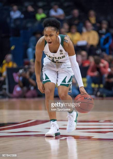 Bayor alexis Morris calling out to her team as she directs traffic versus Texas Univsersity during the Big 12 Women's Championship on March 05 2018...