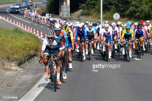 Bayron Guama of Ecuador leads The Peloton during the 94th UCI Road World Championships 2021 - Men Elite Road Race a 268,3km race from Antwerp to...