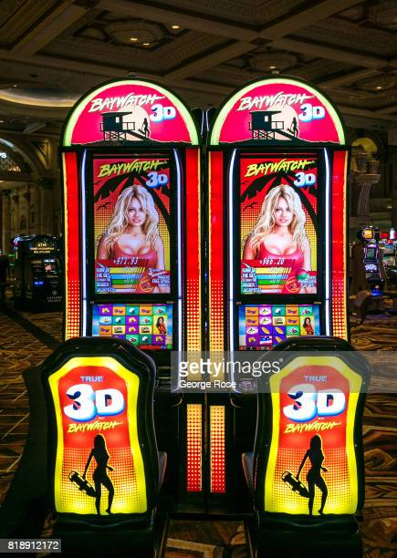 Baywatch 3D video slot machine at Caesars Palace Hotel Casino is viewed on July 13 2017 in Las Vegas Nevada Despite record temperatures tens of...