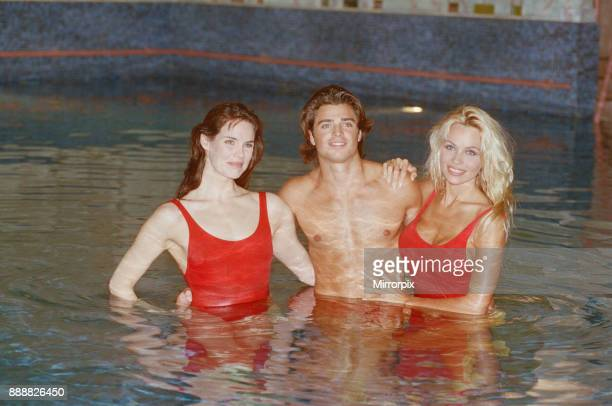 Baywatch stars in a photocall in London for the TV series now appearing on British Television Picture shows Pamela Anderson Alexandra Paul and David...