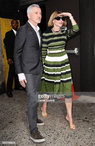 Baz Luhrmann and Anna Wintour are seen outside the Marc Jacobs show on September 11 2014 in New York City