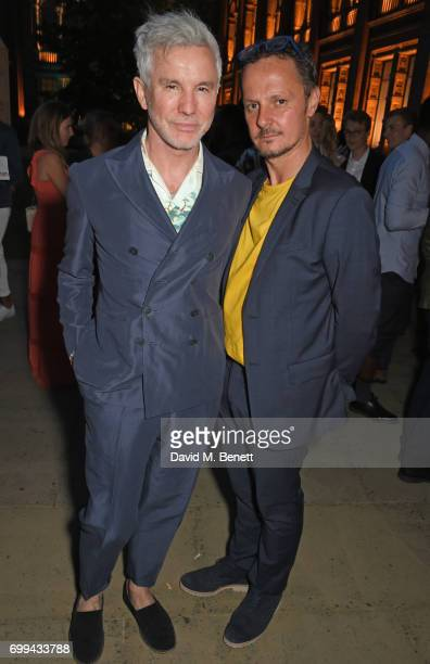 Baz Luhrmann and Jonathan Yeo attend the 2017 annual VA Summer Party in partnership with Harrods at the Victoria and Albert Museum on June 21 2017 in...