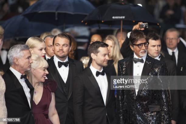 Baz Luhrmann Catherine Martin Elizabeth Debicki Leonardo DiCaprio Tobey Maguire and Amitabh Bachchan attend the Opening Ceremony and 'The Great...