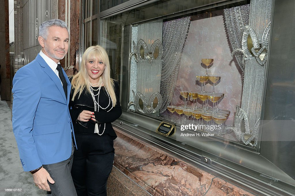 Baz Luhrmann, director/producer/co-writer of 'The Great Gatsby' and Catherine Martin, Academy Award winning costume and production designer attend the unveiling of Tiffany's Fifth Avenue windows celebrating Jazz Age glamour, evoking the spirit of Baz Luhrmann's highly anticipated adaptation of 'The Great Gatsby' on April 17, 2013 in New York City.