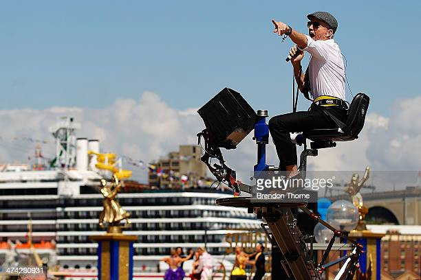 Baz Luhrmann directs dancers from a crane during filming of Strictly Sydney at Sydney Opera House on February 23 2014 in Sydney Australia