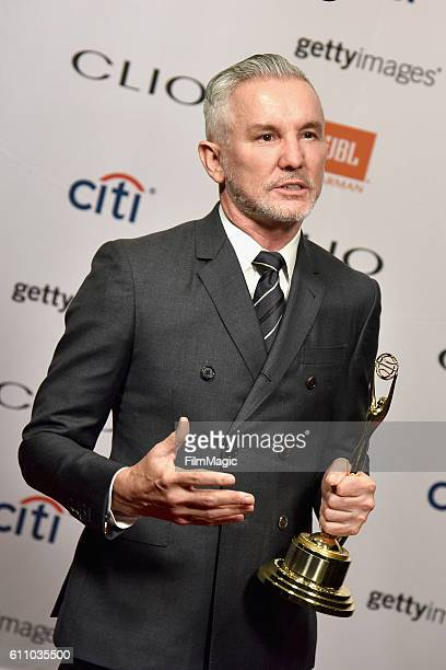 Baz Luhrmann poses backstage with honorary award during the 2016 Clio Awards at the American Museum of Natural History on September 28 2016 in New...