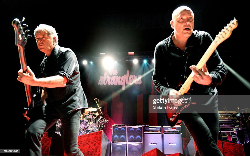 Baz Warne and Jean Jacques Burnel of The Stranglers perform at O2 Apollo Manchester on April 1, 2017 in Manchester, United Kingdom.