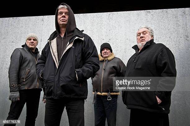 Baz Warne JeanJacques Burnel Dave Greenfield and Jet Black of English postpunk group The Stranglers photographed at their band headquarters in Frome...