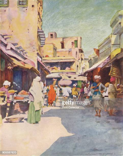 'A Bazaar at Amritsar' 1905 From India by Mortimer Menpes Text by Flora A Steel [Adam Charles Black London 1905] Artist Mortimer Luddington Menpes