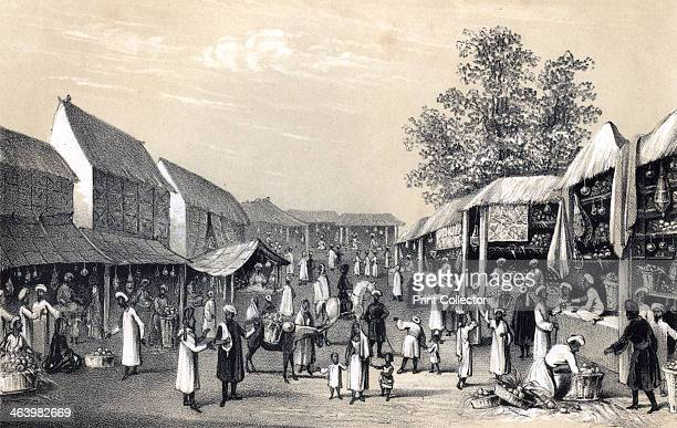 'Bazaar at Cabul in the fruit season' 1847 Market in Kabul Afghanistan Illustration from The History of China and India by Miss Corner