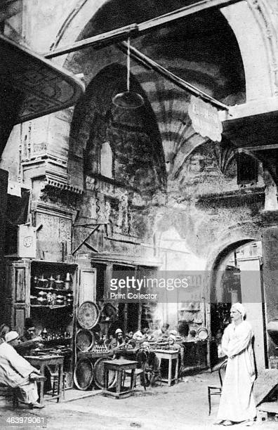 A bazaar in Cairo Egypt c1920s Plate taken From In the Land of the Pharaohs published by Lehnert Landrock