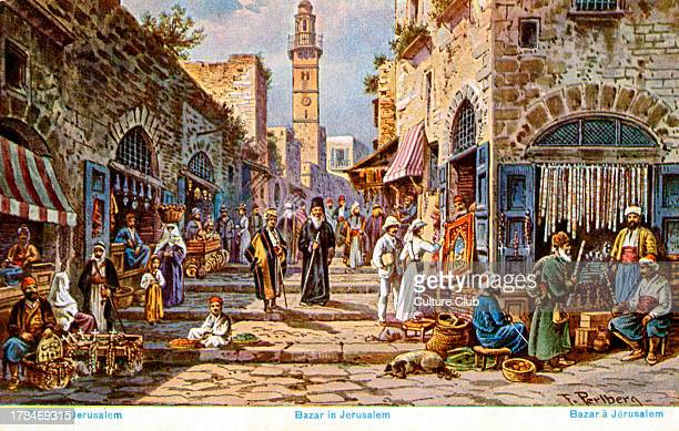 Bazaar in old city of Jerusalem Tourists in white clothes Arabs in traditional costume Greek orthodox priest centre of illustration