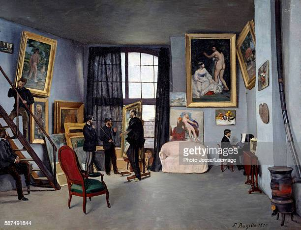 Bazille's studio on the 9 rue de la Condamine in Paris Painting by Jean Frederic Bazille 1870 Oil on canvas 098 x 128 m Orsay Museum Paris