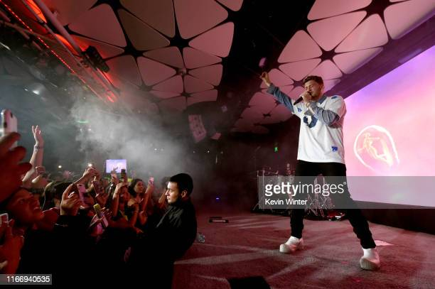 Bazzi performs on stage at iHeartRadio LIVE and Verizon Bring You Bazzi at the Conga Room at LA Live on August 8 2019 in Los Angeles California