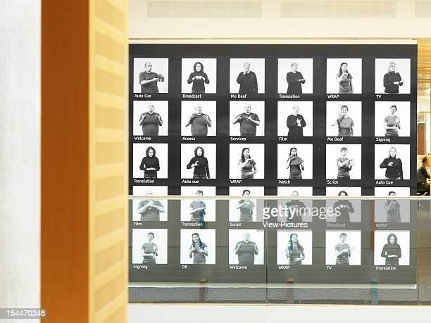 Bbc New Media Centre London United Kingdom Architect Degw Bbc Centre Detail Of Sign Language Wall