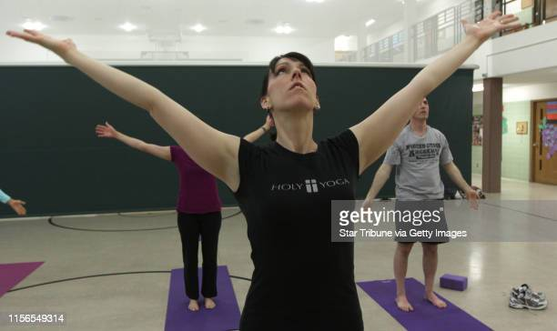 Bbisping@startribune.com Robbinsdale, MN., Saturday, 5/21/11] Jonnie Goodmanson led her class in exercises during the Holy Yoga class at the Elim...