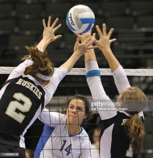 BISPING ¥ bbisping@startribunecom St Paul MN Thursday 11/11/10] Girls State Volleyball Championships Wayzata's Jessica Kegel hit the ball between...
