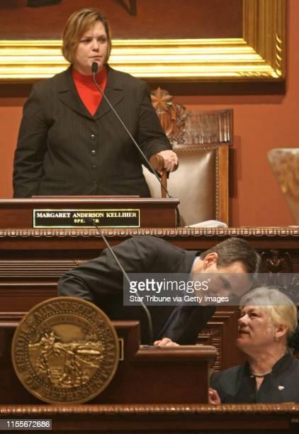 BISPING •bbisping@startribunecom St Paul MN Thursday 1/15/2009] Speaker of the House Margaret Anderson Kelliher stood as Minnesota Governor Tim...