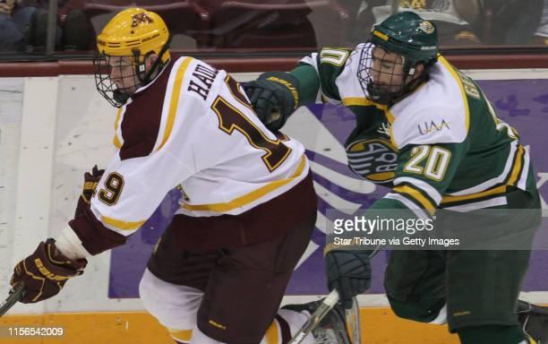 Bbisping@startribune.comMinneapolis, MN, Friday, 128/11] Gopher Hockey vs. Alaska Anchorage. Gophers Erik Haula was chased by Alaska's Alex Gellert.
