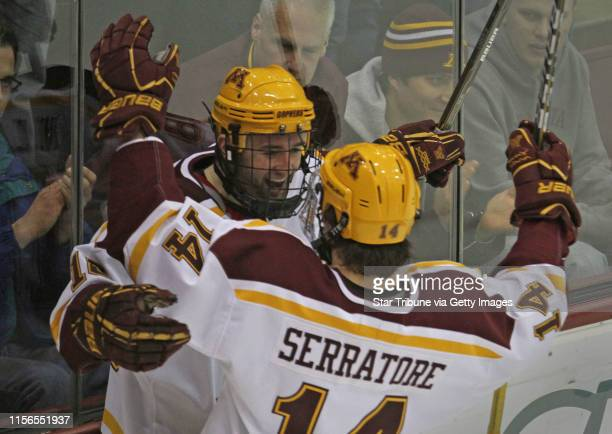 Bbisping@startribune.comMinneapolis, MN, Friday, 128/11] Gopher Hockey vs. Alaska Anchorage. Gopher's Nick Larson celebrated his goal with Tom...