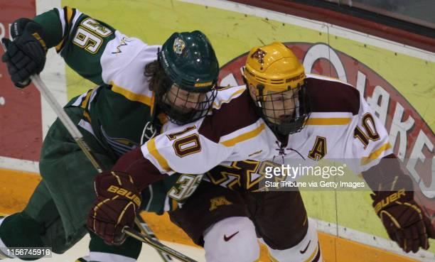 Bbisping@startribune.comMinneapolis, MN, Friday, 128/11] Gopher Hockey vs. Alaska Anchorage. Alaska's Jade Portwood and Gopher's Aaron Ness battled...