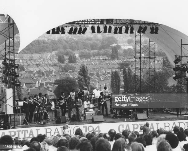King, Capital Radio Jazz Festival, Alexandra Palace, London, 1979. Artist Brian Foskett.