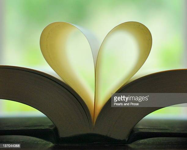 bBook pages folded into heart shape