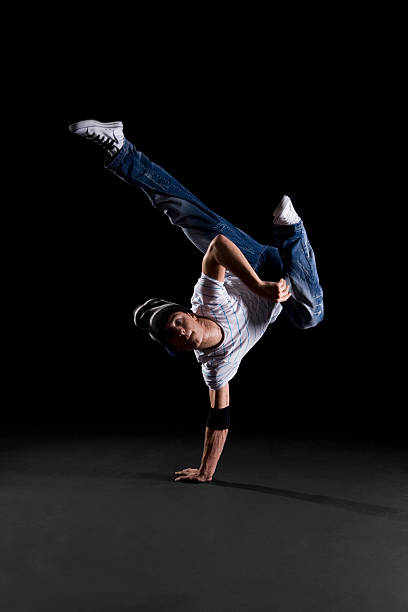 A B-boy doing a K-Kick  breakdance move