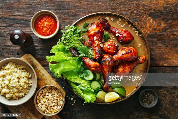 bbq chicken legs - southern usa stock pictures, royalty-free photos & images