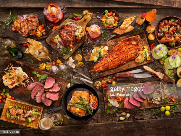 bbq feast - meat stock pictures, royalty-free photos & images