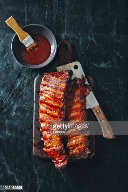 bbq pork ribs - barbeque sauce stock photos and pictures