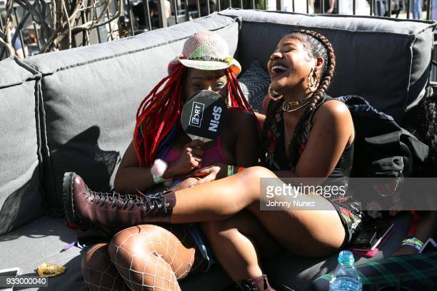 BbyMutha and artist manager Cinns attend The Fader Fort 2018 Day 3 on March 16 2018 in Austin Texas