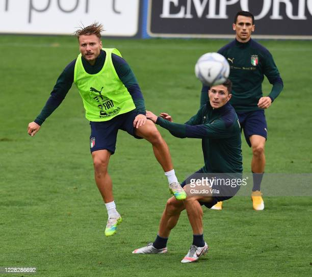 BCiro Immobile of Italy in action during a training session at Centro Tecnico Federale di Coverciano on August 31, 2020 in Florence, Italy.
