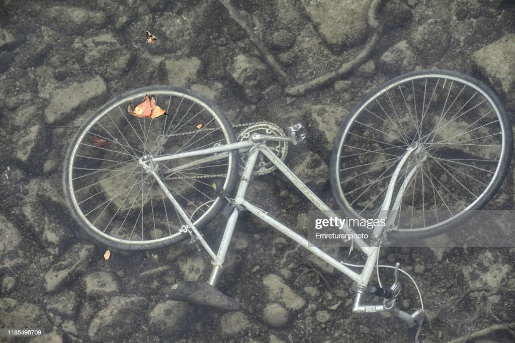 Bcycle submersed in water. : Stock Photo