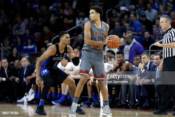BDuke Blue Devils guard Trevon Duval looks for the steal as Boston College guard Jerome Robinson protects the ball during a game between the Boston...