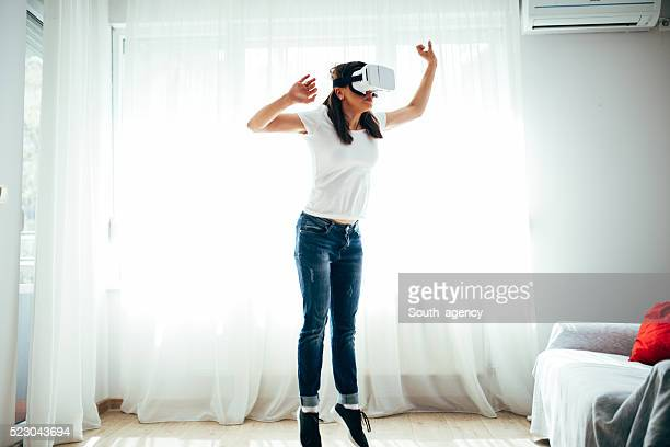 be careful in virtual reality - women's field event stock pictures, royalty-free photos & images