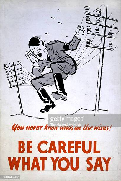 Be Careful What You Say You Never Know Who's On The Wires WWII Careless Talk poster