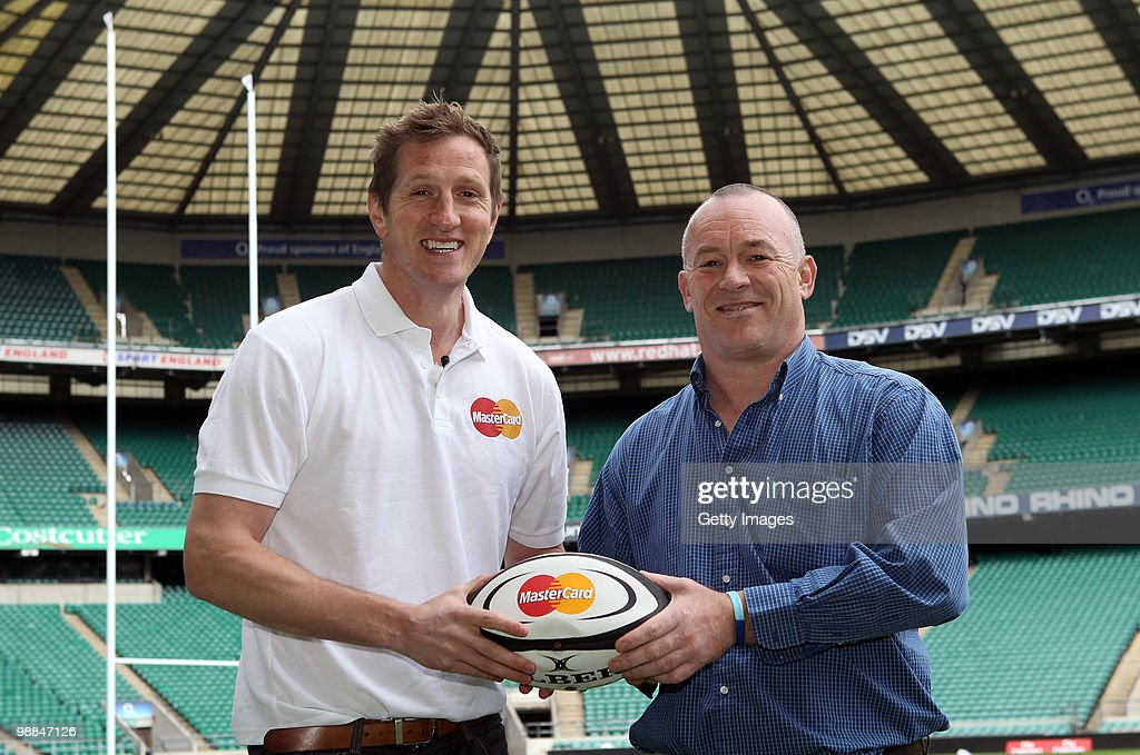 Be Number 23 competition winner Kevin Wand poses for pictures with Will Greenwood (L) during the MasterCard Be Number 23 Shortlist Day on May 4 2010 in Twickenham. He will be a non playing member of the Barbarians squad for the MasterCard Trophy match against England later this month. (Photo by Getty Images for MasterCard).