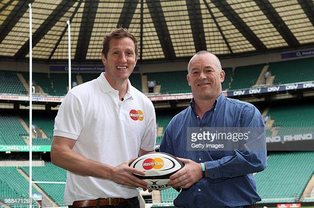 Be Number 23 competition winner Kevin Wand poses for pictures with Will Greenwood during the MasterCard Be Number 23 Shortlist Day on May 4 2010 in...