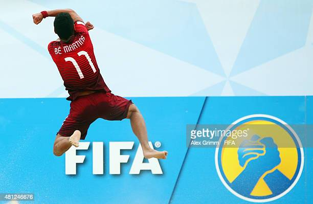 Be of Portugal celebrates his team's fourth goal during the FIFA Beach Soccer World Cup Portugal 2015 Semi-final match between Portugal and Russia at...