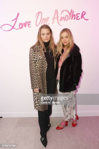 Bea Fresson and Amelia Windsor attend the Lulu Guinness AW18 London Fashion Week presentation on February 17 2018 in London England