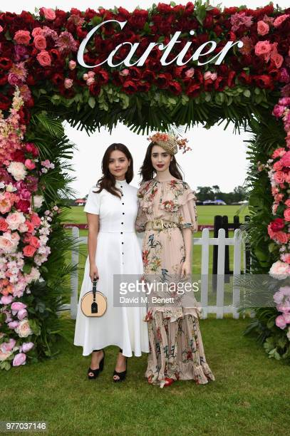Bea Fresson and Olympia Campbell attend the Cartier Queen's Cup Polo at Guards Polo Club on June 17 2018 in Egham England