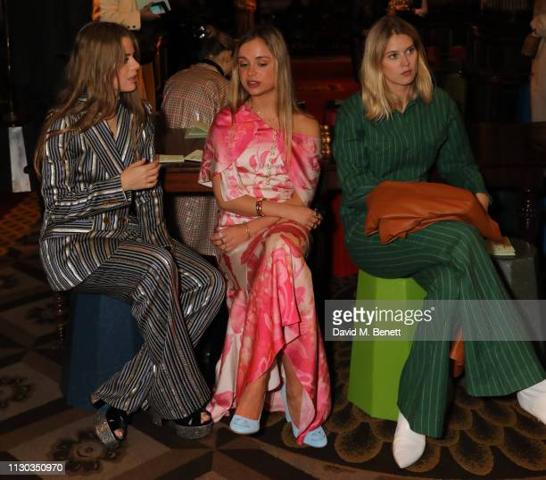 Bea Fresson Lady Amelia Windsor and Eleanor Balfour attend the Peter Pilotto Autumn Winter 2019 Show on February 17 2019 in London England