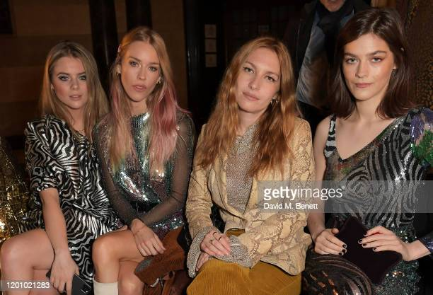 Bea Fresson, Mary Charteris, Josephine de La Baume and Amber Anderson attend the Halpern show during London Fashion Week February 2020 at The Old...