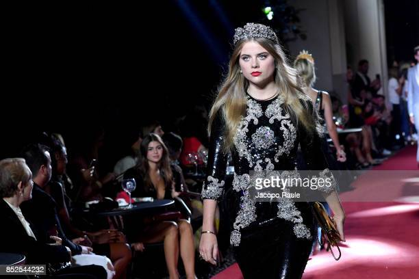 Bea Fresson walks the runway at the Dolce Gabbana secret show during Milan Fashion Week Spring/Summer 2018 at Bar Martini on September 23 2017 in...