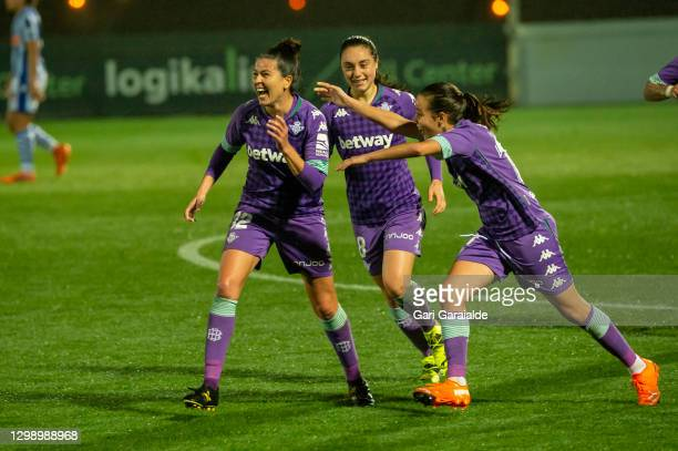 Bea Parra of Real Betis Femenino celebrates after scoring a goal during the Primera Division Femenina football match between Real Sociedad and Real...
