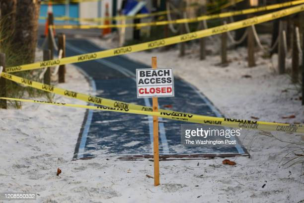 Beach access is closed off for public access due to Covid19 on Sunday March 29 2020 in Fort Myers Beach FloridaWhile there is no shelter in place...
