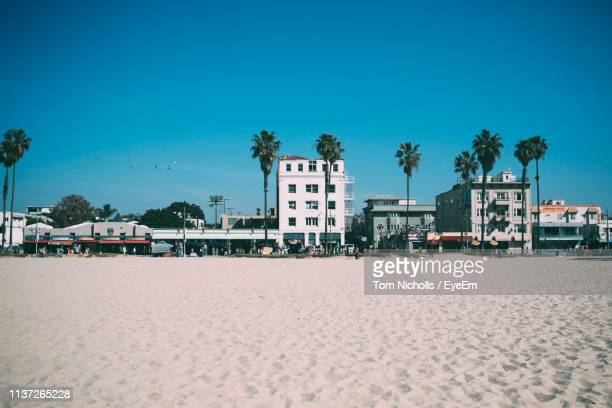beach against buildings in city against blue sky - venice beach stock pictures, royalty-free photos & images