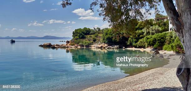 a beach along the aegean sea in the pagasitikos gulf near horto - thessaly stock pictures, royalty-free photos & images