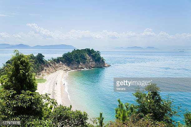 Beach and calm blue water, Seto Inland Sea, Japan